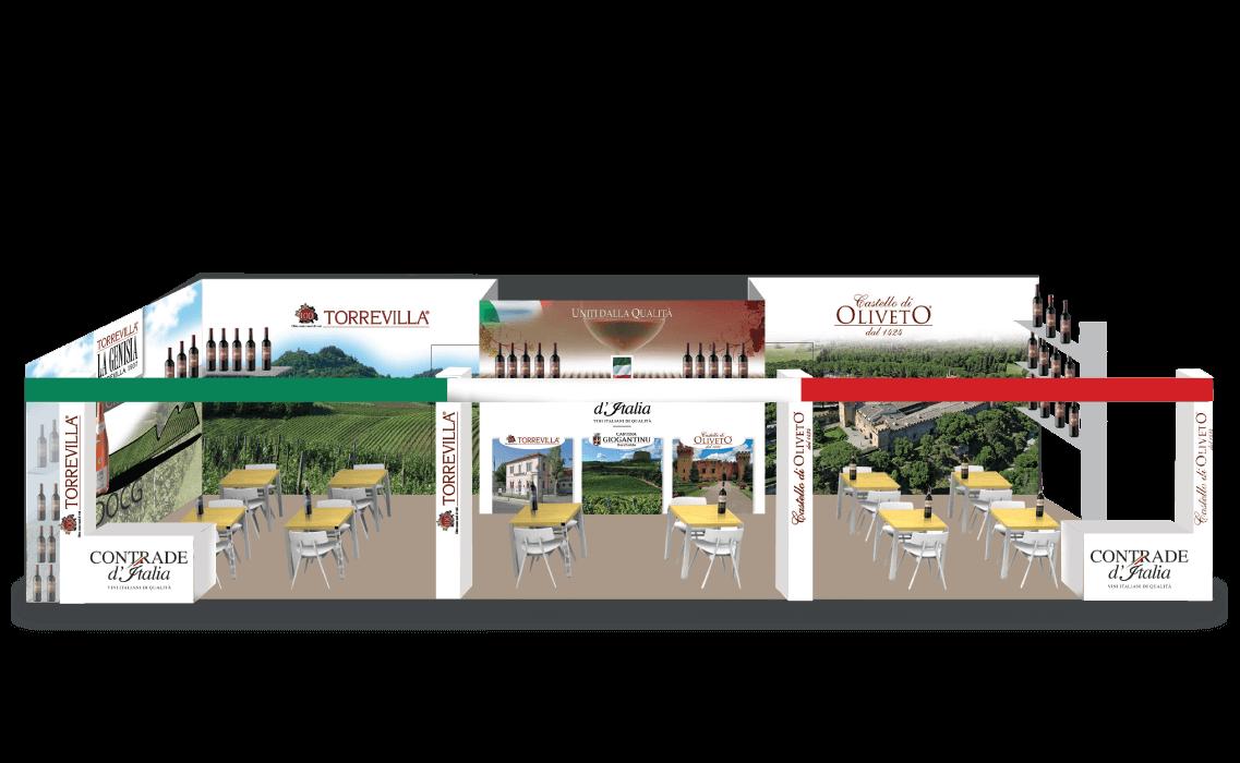 Design, concept, grafica pannelli dello Stand Vinitaly per Contrade d'Italia